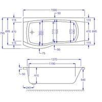 Carron Delta P Shaped Right Hand Showerbath 1600 x 800mm